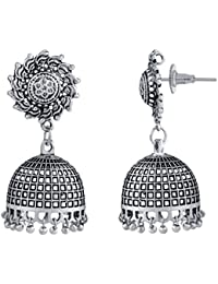 Spargz Indian Bollywood Oxidized Silver Plated Jhumki Earrings AIER 1006