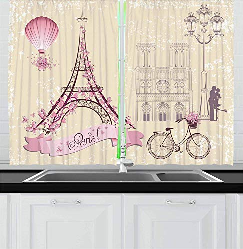 Kiss Kitchen Curtains, Floral Paris Symbols Landmarks Eiffel Tower Hot Air Balloon Bicycle Romantic Couple, Window Drapes 2 Panel Set for Kitchen Cafe, 110 inch X 110 inch, Ivory Pink Ivory Floral Swag