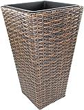 Rattan Bodenvase eckig mit Einsatz 1 Stück - klein braun