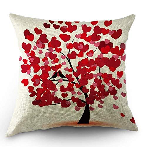 Cuscino cuore decorativo cuscino copriletto san valentino love hearts albero per matrimonio cuscino da sposa 18x18 pollici in cotone cuscino quadrato per divano letto rosso
