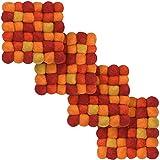 myfelt 4X Loni Filzkugel-Untersetzer, quadratisch, Schurwolle, Rot/Gelb, 9 x 9 cm
