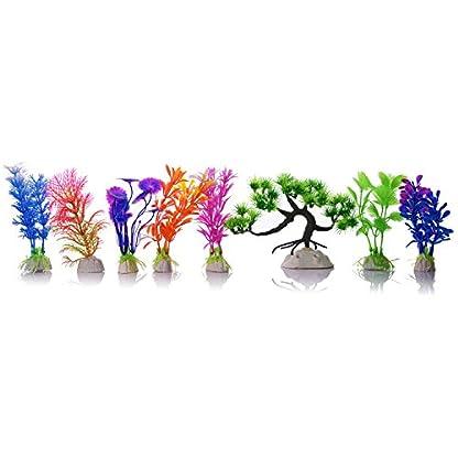 Mudder Artificial Aquarium Plastic Plants, 8 Pieces 2