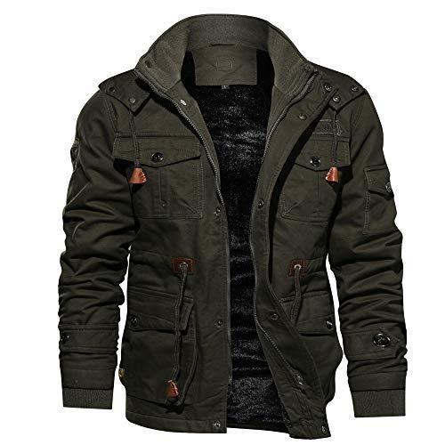 Herren Winterjacke Dasongff Männer Windbreaker mit Mehrfache Tasche Military Jacke Version Übergangsjacke Winterparka Stehkragen Wintermantel Zipper Mantel