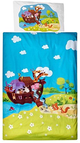Aminata Kids Kinder-Bettwäsche 100-x-135 cm Zoo-Tier-e Jungle Afrika Safari Waldtier-e Dschungel Baby-Bettwäsche 100-% Baumwolle Renforce rot-er hell-blau grün Mädchen und Junge-n