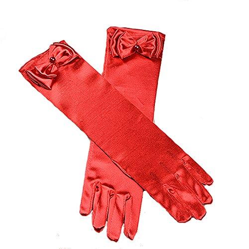 Cinda Cinda Mädchen-heilige Kommunion-Blumen-Mädchen-Handschuhe in 11 Farben 4-8 Jahre Rot 4-8 Jahre