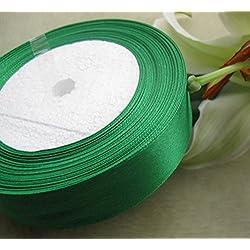 chenkou Craft 45,7m 2roll 50Farbe Satin Band 25mm DIY Craft Hochzeit liefert Ornament grün
