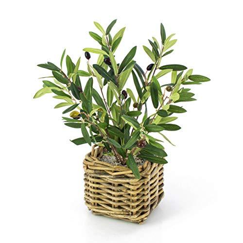 artplants.de Olivenbäumchen im Flechtkorb, 40cm - Kunstbaum