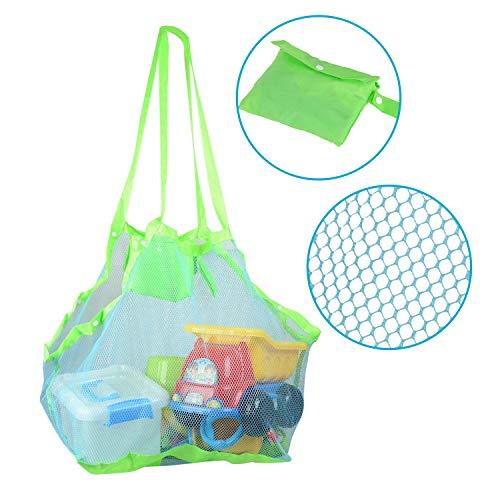 KidsHobby Strand Aufbewahrung Tasche Netz Sandspiel Netztasche mit 6 Tasten für Sandspielzeug, Extra Große Familie Mesh Beach Bag Tote