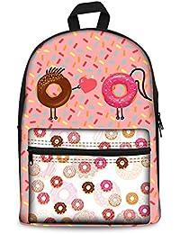 Coloranimal Cute Backpack For Teenage Girls Pink Donut Printing Rucksack Kids School Bag