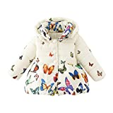 Loveble Winter Infant Baby Girls Butterfly Print Cotton Coat Parka Down Snowsuit Jacket Outerwear For 0-4Years