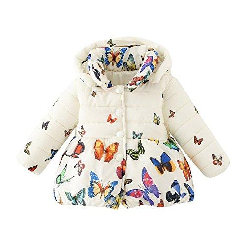 Loveble Hiver Enfant Bébé Fille Papillon imprimé Coton Manteau Parka Down Manteau de neige Vêtements d