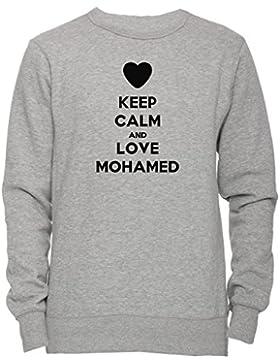Keep Calm And Love Mohamed Unisex Uomo Donna Felpa Maglione Pullover Grigio Tutti Dimensioni Men's Women's Jumper...