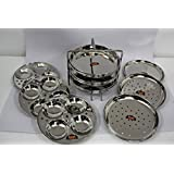 FERUM 3IN1 MULTIPURPOSE STAND MEDIUM 9 PLATES (IDLY,IDIAPPAM,DHOKLA) (7X3) SUITABLE FOR-5-LITRE PRESTIGE COOKER,STAND diameter-18cm, height-14cm.
