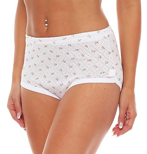 4er Pack Damen Slips aus Baumwolle (weiß / geblümt) Nr. 420 ( Modell 1 (Jaquard) / 56/58 ) - 3