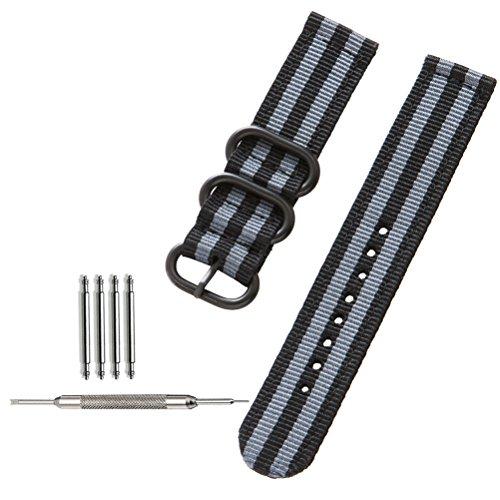 [ZHUGE] Correa de reloj NATO Bandas de reloj tejidas Ballistic Nylon Premium Reloj correas Hebilla gruesa de acero negro 18mm 20mm 22mm