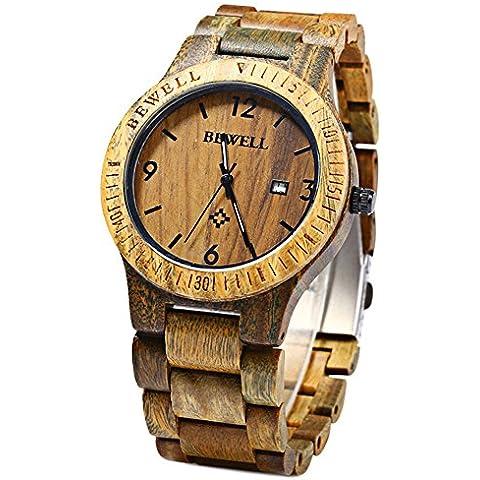 Bewell leopardo Shop-Orologio da uomo al quarzo con Display analogico, movimento data in legno di aloe Vera