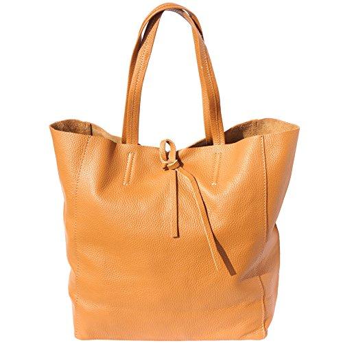 Florence Leather Market Tote-Einkaufstasche aus echtem Leder 9121 (Licht braun) -