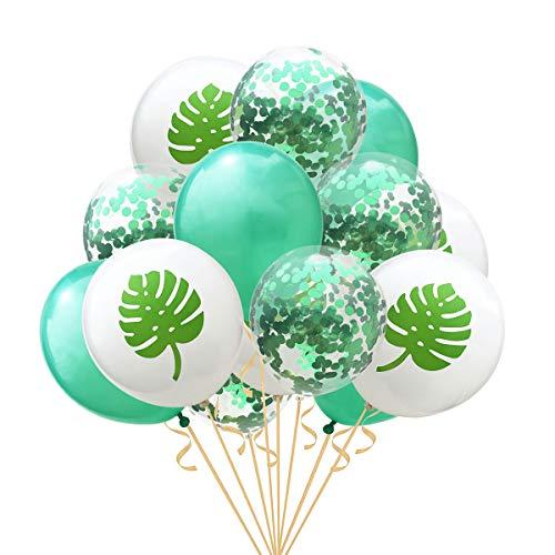 BESTOYARD 15 Unids 12 Pulgadas Verde Paillette Confeti Globos Fiesta de Hawaii Glitter Globos de Hoja Tropical Suministros de Fiesta de Decoración para la Propuesta de Boda de Cumpleaños