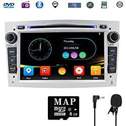 Stereo Home 7 Pouces Autoradio GPS Navigateur pour Voiture pour Opel, unité de tête stéréo Voiture 2 Din avec Lecteur de CD/DVD, USB SD, 720P Video,FM AM RDS, Wince Système Bluetooth 8G Carte(Blanc)