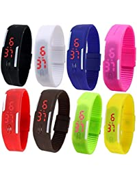 Pappi Boss - IMPORTED - Unisex Silicone Jelly Slim Set of 8 Sports Digital Led Bracelet Band for Boys & Girls - Combo Offer