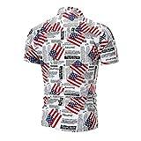QUINTRA Herren Casual Slim Kurzarm American Flag Printed Shirt Top Bluse (Mehrfarbig, 2XL)