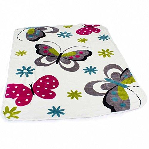 PHC Decke Kinderdecken Schmetterlinge Creme Butterfly Bunt Kuscheldecke Spieldecke, Grösse:155x215 cm