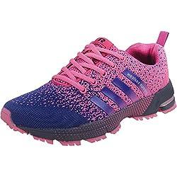 Wealsex Zapatos para Correr En Montaña Asfalto Aire Libre Deportes Zapatillas De Running para Mujer (púrpura,37)