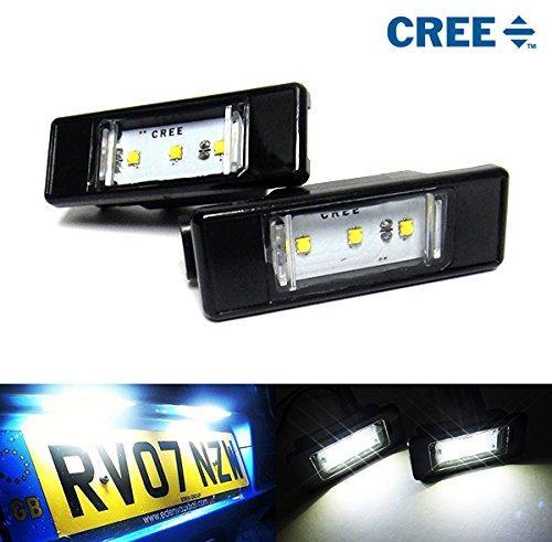 Weiße LED-Kfz-Kennzeichen-Beleuchtung von Cree, geeignet für C3 C4 C5 C6 DS3 DS5 106 307 308 406 508 RCZ Expert, 2 Stück (bitte länderspezifische Rechtsvorschriften beachten)