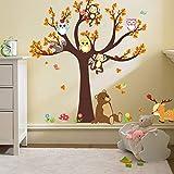 Ufengke Dessin Animé Forêt Animaux Hibou Singe Ours Arbre Stickers Muraux,La Chambre Des Enfants Pépinière Autocollants Amovibles