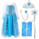Ice Queen Princess Deluxe Fancy Costume Snowflakes Train Dress + Accessories