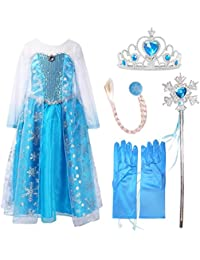freshbaffs Ice Queen Princess Deluxe Fancy Costume Snowflakes Train Dress + accessories
