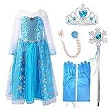 Luxuriöses Eiskönigin-/Prinzessinnen-Kostüm, Schneeflocken-Kleid mit Schleppe und Zubehör Gr. 4-5 Jahre , blau