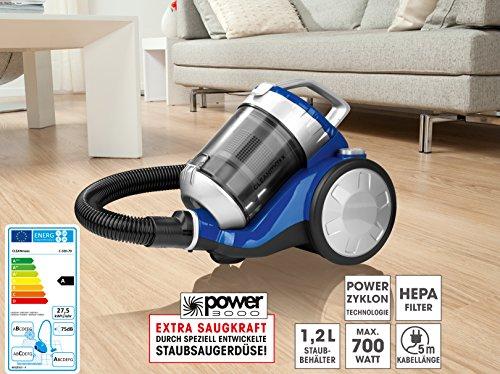 """CLEANmaxx Zyklon-Staubsauger""""2400"""" blau/silber (700 Watt)"""