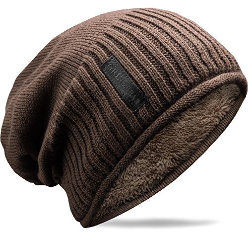 Grin&Bear weiches Unisex Slouch Beanie Mütze in Feinstrick mit warmem Fleece Innenfutter Hellbraun M31