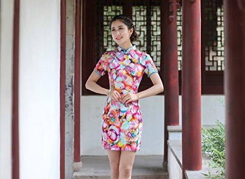 ... Yue Lian Damen Geblümter Cheongsam Chinesische Knöpfe Sommerkleid  Stehkragen Qipao Mehrfarbig Bunt(Runde)