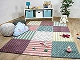 Pergamon Kinder Teppich Maui Kids Pastel Bunt Karo Sterne in 5 Größen