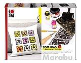 Soft Linol Print & Colouring Set, Hochdruckset für Textilien mit Softdruckplatte, Schneidewerkzeug mit Klingen, Schaumroller, Pinsel, 100ml Druckfarbe und 2 x 15ml Aquarellfarbe