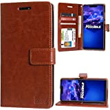 DMG Flip Cover for Nova 3i, Premium Leather Wallet Stand Case for Huawei Nova 3i (ID Brown)