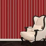Elegante Block Streifentapete in Bibliotheks rot passt zur Borte Halali - Vlies Tapete Streifen verschiedene Farben - Klassische Wanddeko - GMM Design Tapete - Wandtapete - Wand Dekoration für edle Wohnakzente (Muster 20 x 46,5cm)