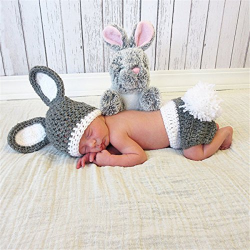Kaninchen Handmade Kostüm - WJH&ZMB Baby Fotografie Requisiten Baby Fotografie Hand Made Kaninchen Kostüme, Baby Fotografie Kleidung, 0-3 Monate Baby