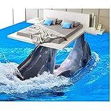 Landschaft boden malerei ozean delphins baden 3d boden bad pvc tapete wasserdichte tapete für badezimmer 3d boden tapete 3d für badezimmer 200x140 cm