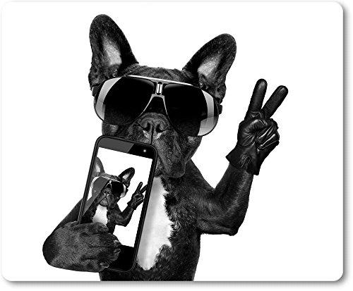 Mauspad / Mouse Pad aus Textil mit Rückseite aus Kautschuk rutschfest für alle Maustypen Motiv: Französische Bulldogge mit Smartphone, Sonnenbrille macht das Victory-Zeichen | 10
