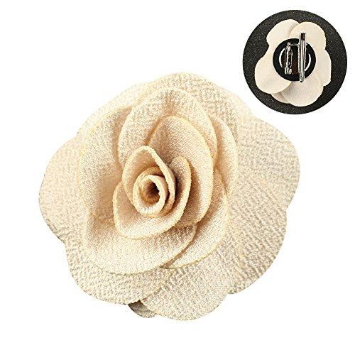 Soleebee NS001B Ansteckblumen Herren Handgefertigt Revers Pin Blume Set Revers Krawatte Brosche Kamelie Boutonniere für Anzug mit Clip (Beige)