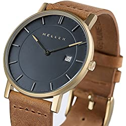 Meller Unisex Balk Camel Minimalist Watch with Grey Analogue Display and Leather Strap