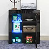 WarmieHomy Sideboard Cabinet, Modern Sideboard Chest of Drawer High Gloss LED Lighting for Living Room Furniture Black