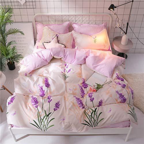 Bettwäsche Set Streifen Bettwäscheset Sommer Rosa Bettlaken, Kissenbezug & Bettbezug Blatt Bettwäsche Set Queen Size Pink2 220x240cm -