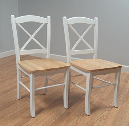 Country Cottage Style Dining Chairs (Set of 2) Constructed From Solid Rubberwood with Natural/beige Seats and White Cross Backs and Legs - Assembly Required by Simple Living - Back Dining Chair Set