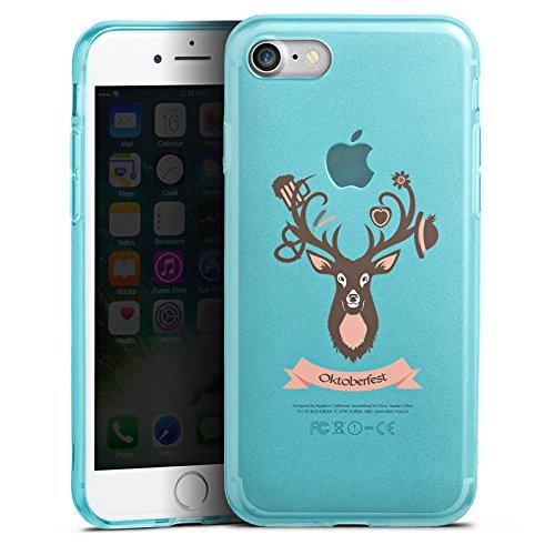 Apple iPhone 8 Silikon Hülle Case Schutzhülle Hirsch Oktoberfest Wiesn Silikon Colour Case eisblau