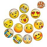 Lesfit Imanes Nevera Pizarra Magnetica Emoji, 12 Pieza Iman Frigorifico de Cristal 3D Decorativos Divertidos