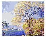 Enmarcado Pintura Decorativa Pintura Color Pintado Su Impresión Monet De La Mañana Antibes Pintando Por Números 40X50Cm